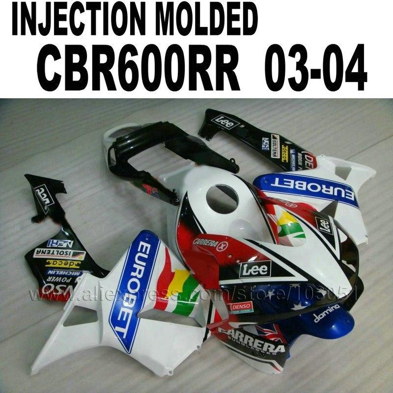 7 cadeaux moto Moulage Par Injection carénages pour Honda cbr600 2003 2004 CBR 600 RR CBR600RR 03 04 blanc Eurobet corps carénage ki