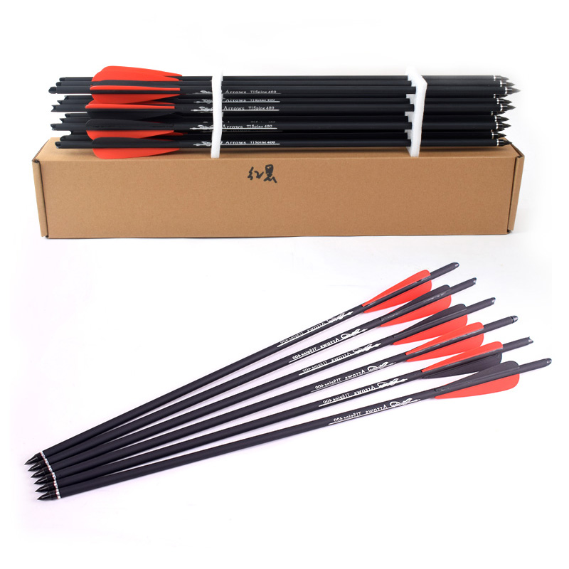 12Pcs Crossbow Carbon Arrow 16/20 Inches Spine 400 With Red And Black Feather For Crossbow Archery Hunting Shooting