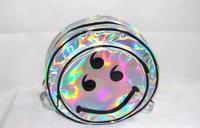 1 piece Laser round Backpack Boys 3D Alien ET Head smile Face Designed Unisex schoolbag Leisure Bag For Girls