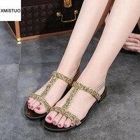 Sequins Fashion Free Match Women Shoes Casual Flat Sandals Women Shine Solid Gold Sliver Grey Sandalia