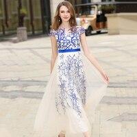 2018 Nóng Bán Maxi Dresses Women Petal Sleeve O-Cổ Áo Dài Feminino Chắp Vá Floral Thêu Vestido Longo de Festa N618
