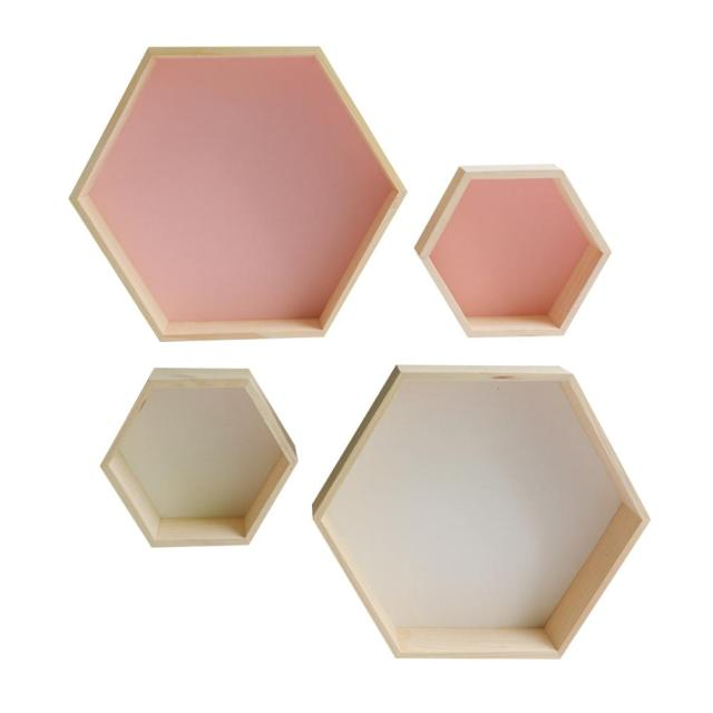 2 Pcs Hexagon Wooden Shelf