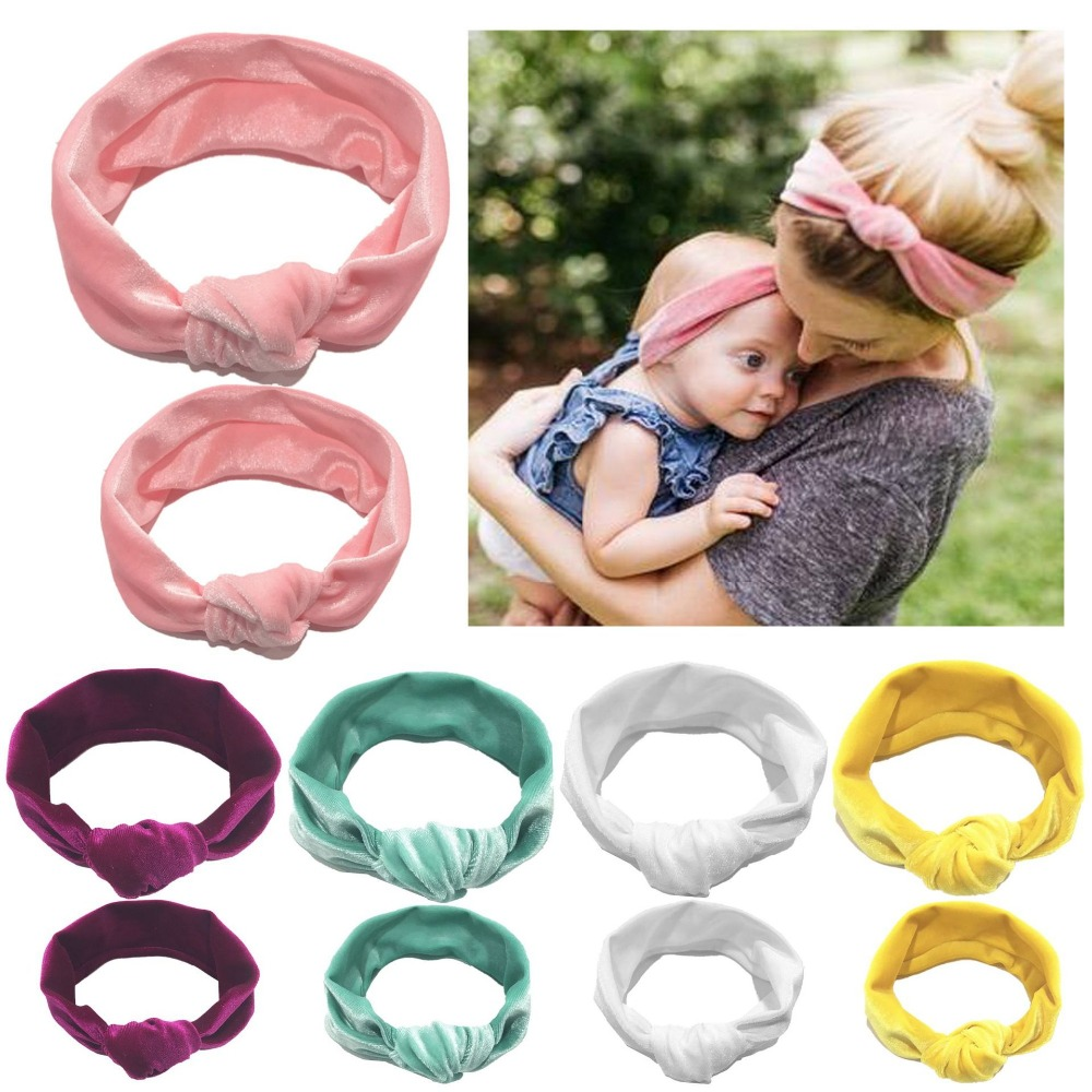 Parent-child Knotted Hair Band Headband Cotton Stretch Gold Velvet Mother Baby Holiday Hair Ring Headwear Hair Accessory