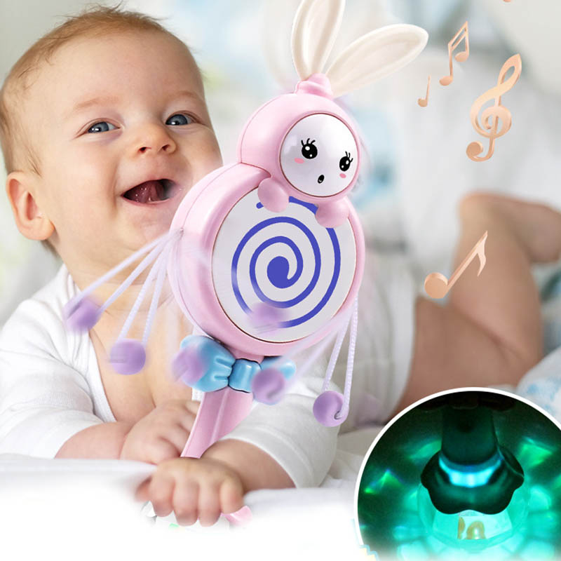 Hot Selling Baby Toys Electronic Hand Rattle Musical Bell With Teether Handbell Development Toys For Infant