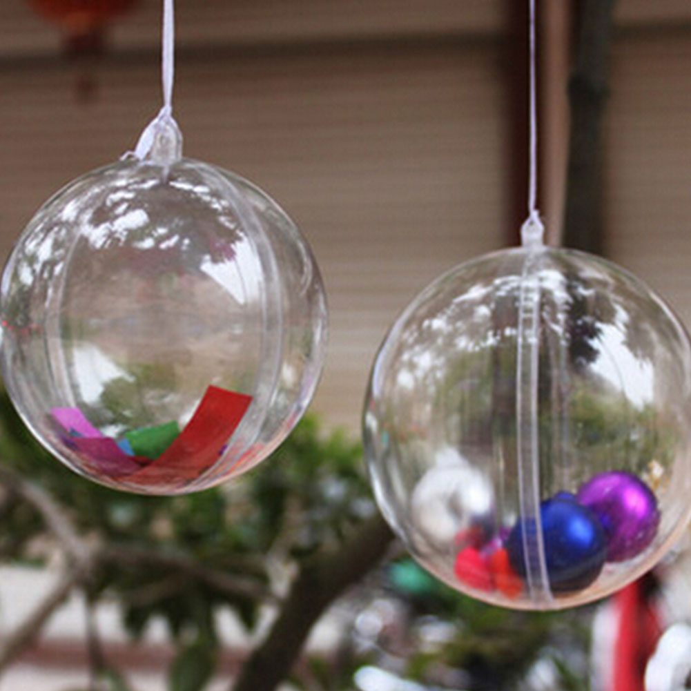 Cheap outdoor christmas decorations - 10cm Plastic Clear Christmas Decorations Hanging Ball Bauble Candy Ornament Xmas Tree Outdoor Decor Clear Christmas Baubles In Ball Ornaments From Home