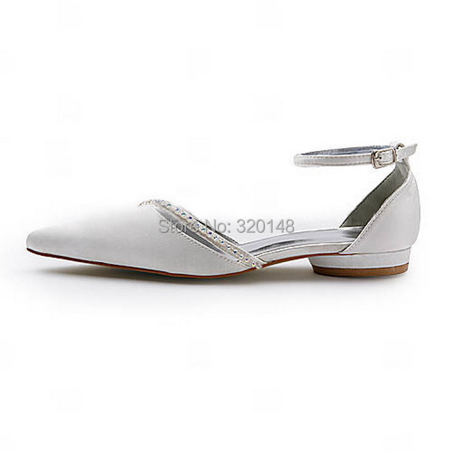 Fashion Flats for Women A670 Ivory Pointed Toe 1inch Low Heel Rhinestone  Satin Comfortable Wedding Shoes-in Women s Flats from Shoes on  Aliexpress.com ... 67b724c7affa