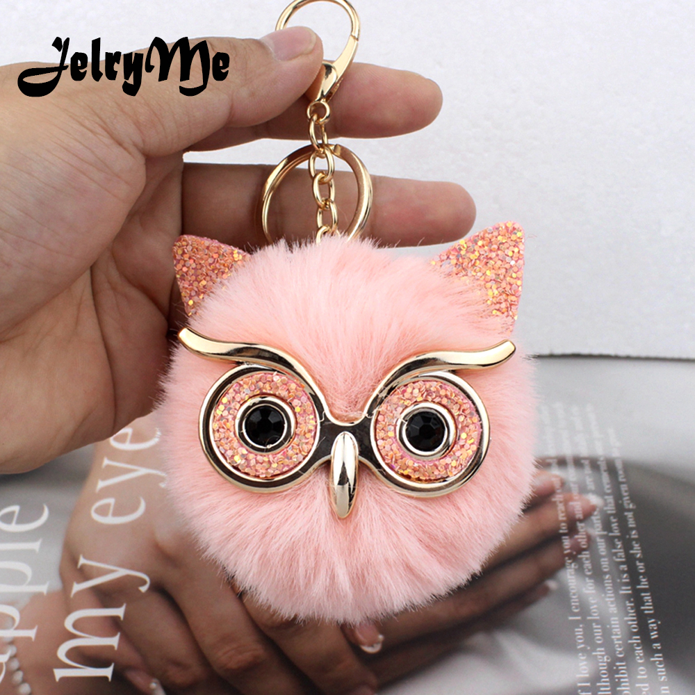 Lovely Sequin Ear Owl Keychains For Girls Boy Fluffy Fake Animal Fur Ball Pompon Key Chain Charm Women Bag Key Ring Teacher Gift