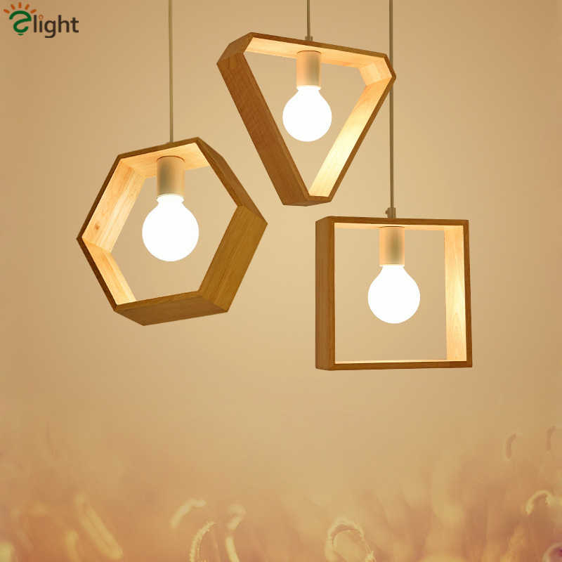 Nordic Wood E27 Lustre Led Pendant Lights Dining Room Luminaires Hanging Lamp Led Droplight Indoor Lighting Fixtures for Table