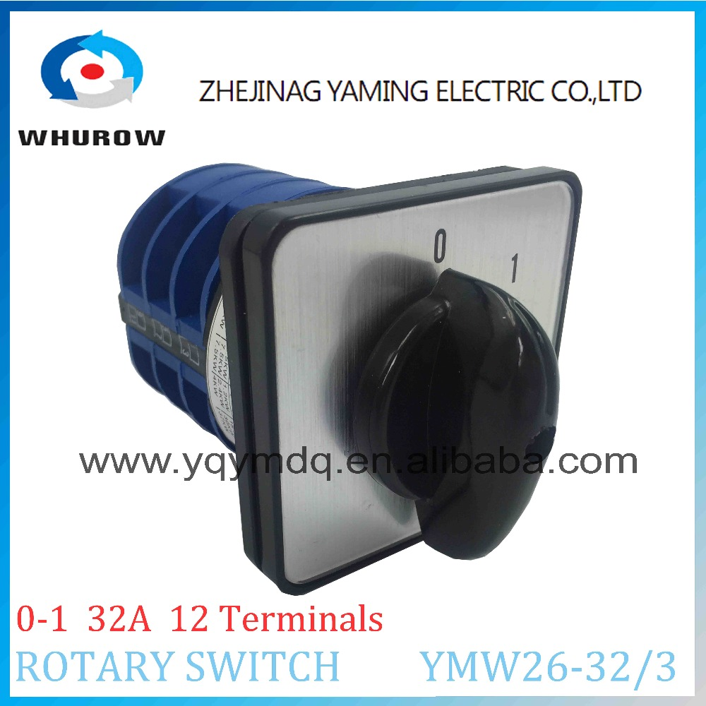 LW26 YMW26-32/3 Rotary switch 2 postion (0-1)  on off 690V 32A 3 pole 12 terminal universal changeover cam switch silver contact 660v ui 10a ith 1 0 2 on off on universal rotary cam changeover switch