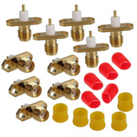 10x SMA Female Panel Mount 2-hole Jack with Extended Dielectric RF Connector
