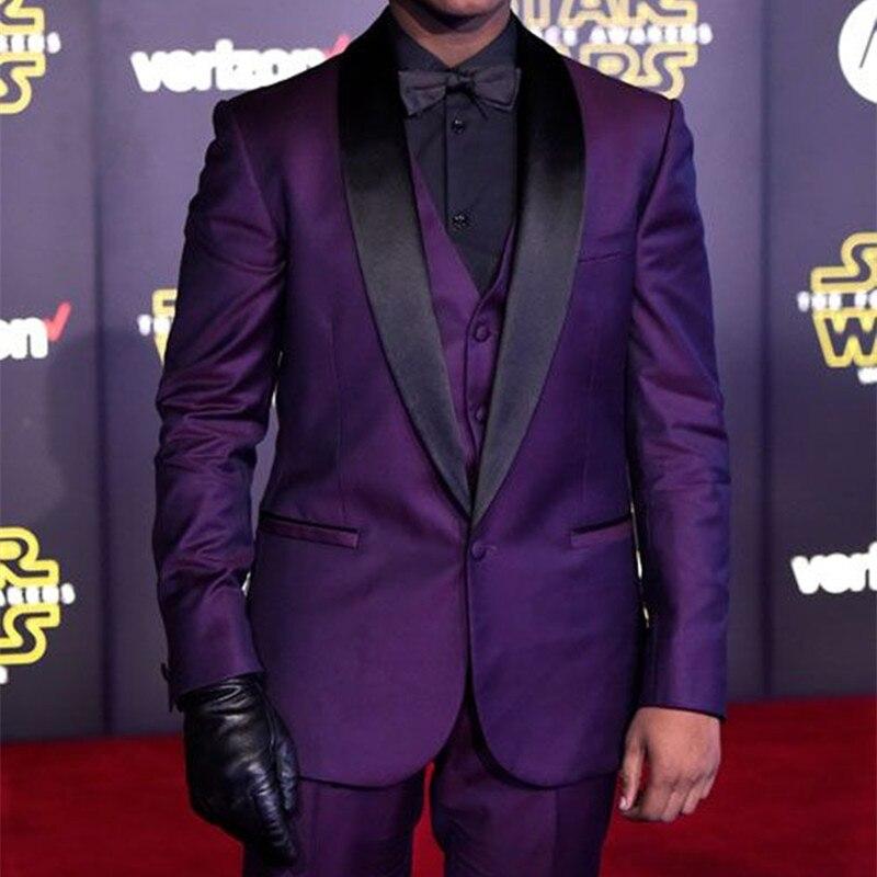 Purple Men's Tuxedo Set Customized 3 Piece Men's Onstage Speech Clothes Men's Formal Occasion Dress Design Speech Best Suit