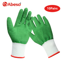 10 Pairs Nylon Wave Pattern Full Glue Safety Gloves Oil proof Waterproof Cut Resistant Durable Breathable Working Gloves