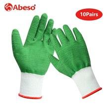 10 זוגות ניילון גל דפוס מלא דבק בטיחות כפפות שמן הוכחה עמיד למים לחתוך עמיד לנשימה עבודה כפפות