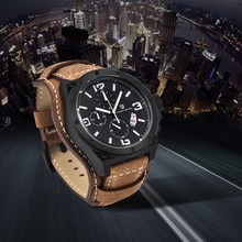 100M Waterproof Sport Thick Leather Watch