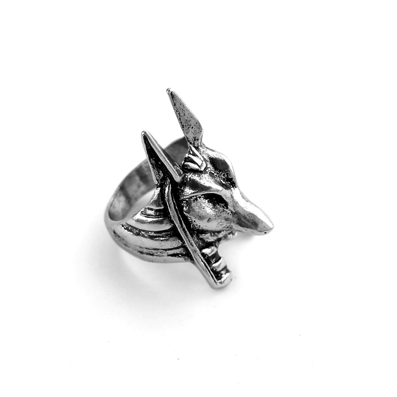 Wholesale 20pc/lot Unique Ring For Man Stainless Steel Old Egypt God Style Jackal Head Ring For Man Unique Zinc Alloy Ring