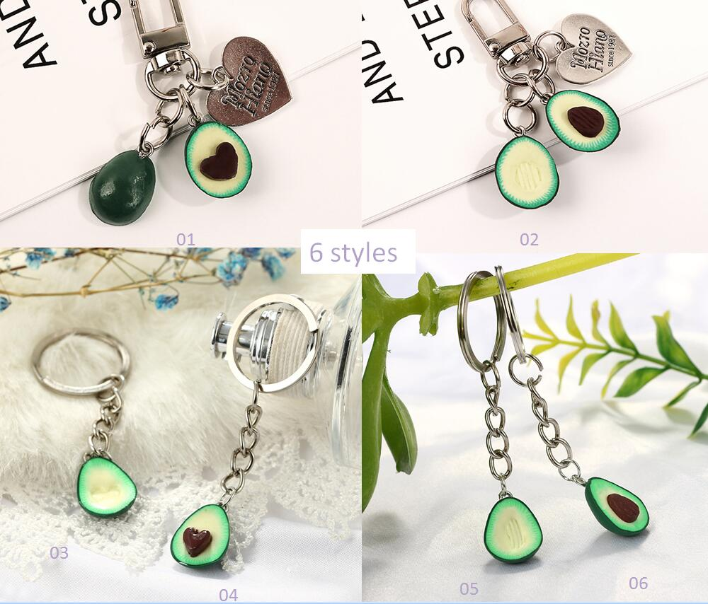 Handmade fashion environmental protection soft pottery mud avocado keyring men and women keychain cute bag pendant in Key Chains from Jewelry Accessories