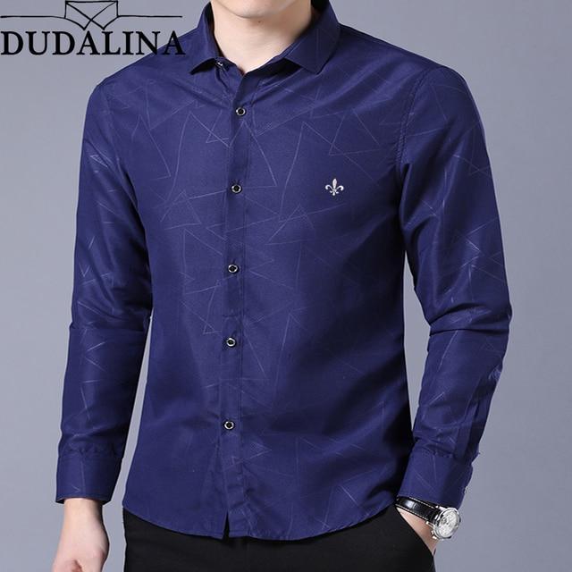 0de92a814009 Dudalina camisa hombre geométrico Casual marca ropa hombres camisa 2019  manga larga Formal hombre de negocios