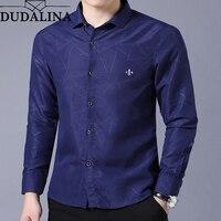 Dudalina Shirt Male Geometric Casual Brand Clothes Men Shirt 2019 Long Sleeve Formal Business Man Shirt Slim Fit Designer Dress