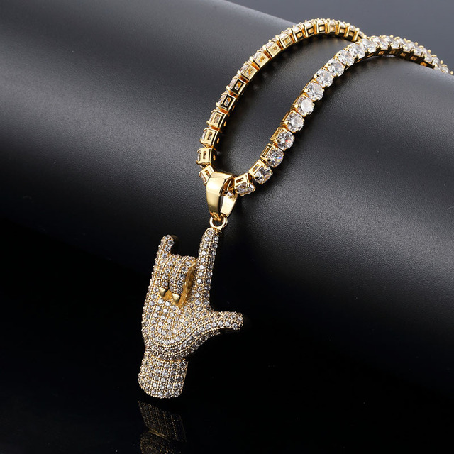 Hip Hop Jewelry Finger Pendant Necklace With Gold Chain For Men New Fashion Cubic  Zirconia Necklace 366906566b3a
