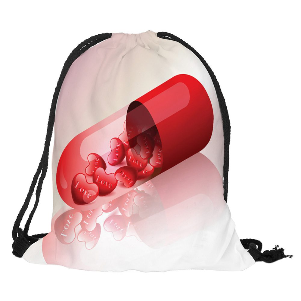 Valentine's Day Digital Printing Bag With Rope  With English