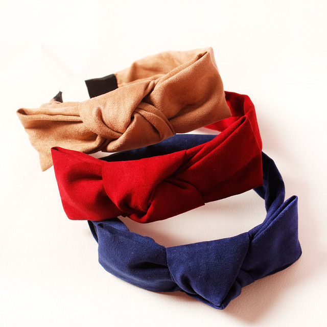 7a3306b9 3pcs/lot Red Suede Bow Covered Hairbands Nude Color Apricot Fall Girls  Headbands Autumn Leather Suede Wrap Band Wedding Headband