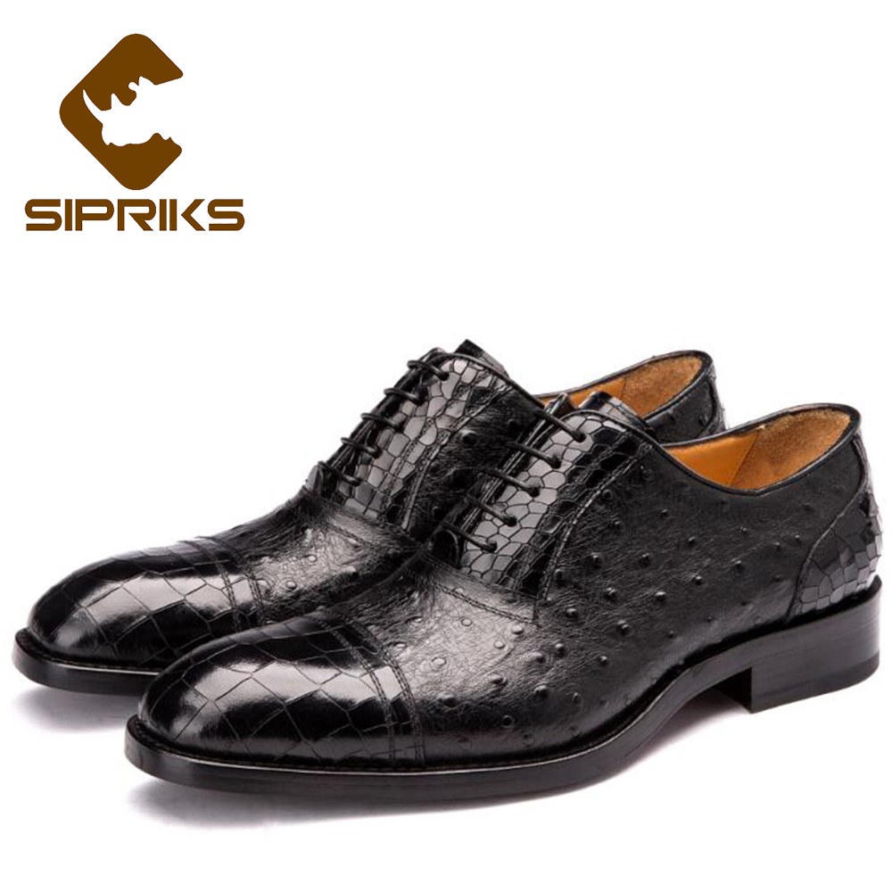 Sipriks Mens Goodyear Welted Sapatos Preto Marrom Patrão Mens Gents Terno Oxfords Pele de Avestruz Crocodilo Formais Sapatos Smoking 45