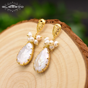 Image 4 - GLSEEVO Natürliche Frische Wasser Barocke Perle Ohrringe Für Frauen Pflanze Blätter Baumeln Ohrringe Luxus Handgemachtes Feine Schmuck GE0308