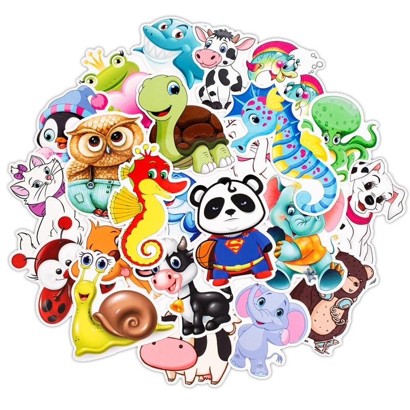 30Pcs Cartoon Animal Stickers Kids Toy Sticker For DIY Luggage Laptop Skateboard Motorcycle Bike Bedroom Sticker