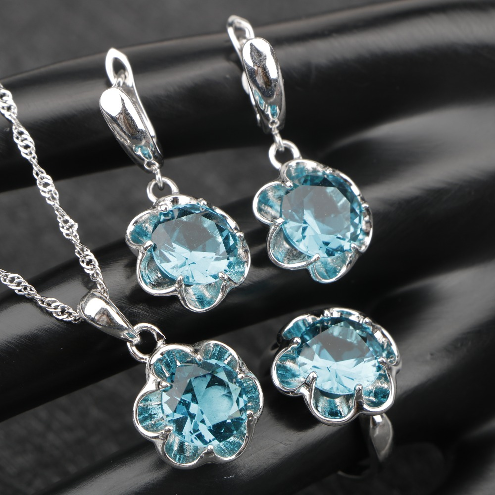 ONOFYU Silver 925 Jewelry Sets For Women Top Quality Stones Sea Blue CZ Necklace Pendant Earrings Rings Free Gift Box