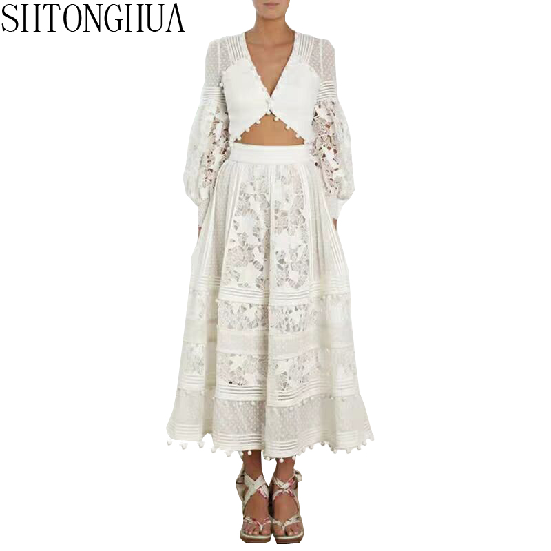 SHTONGHUA Runway Summer Long Maxi Dress Women Lace Patchwork Hollow Out Sexy V Neck Top High