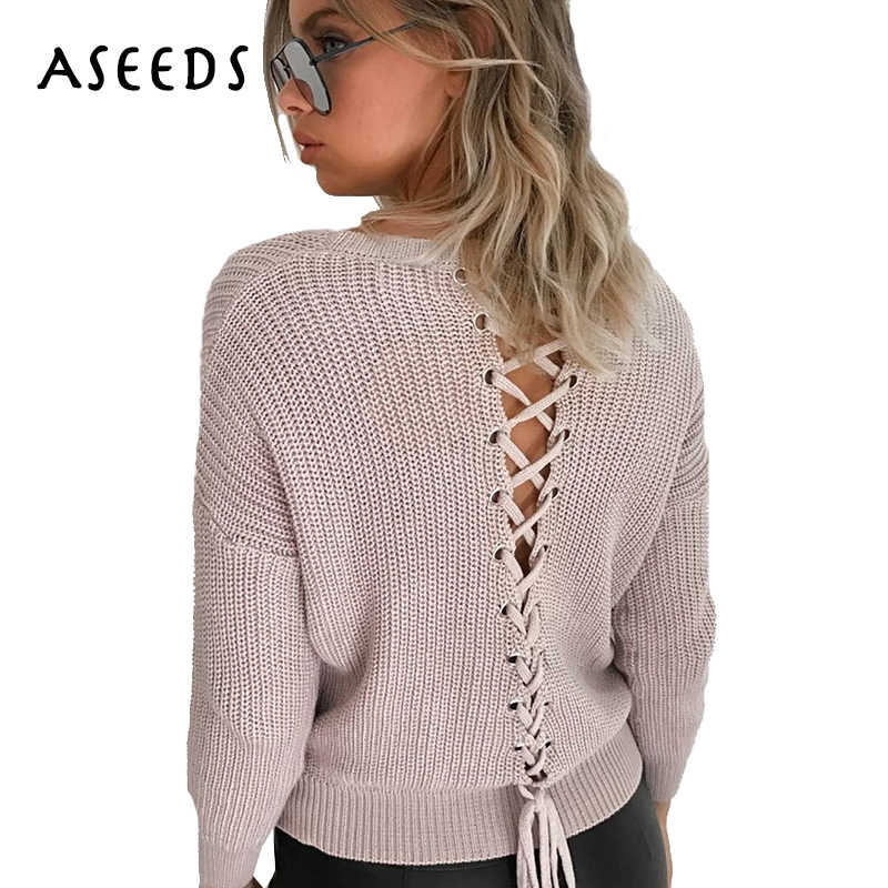 189ee64e4e Fashion pink lace up Knitted Pullovers casual women Sweater 2018 Autumn  Winter o neck long sleeve