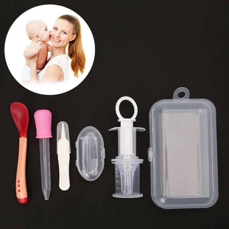 NoEnName-Null 5pcs Newborn Baby Kids Medicine Dispenser Dropper Toothbrush Health Care Kit