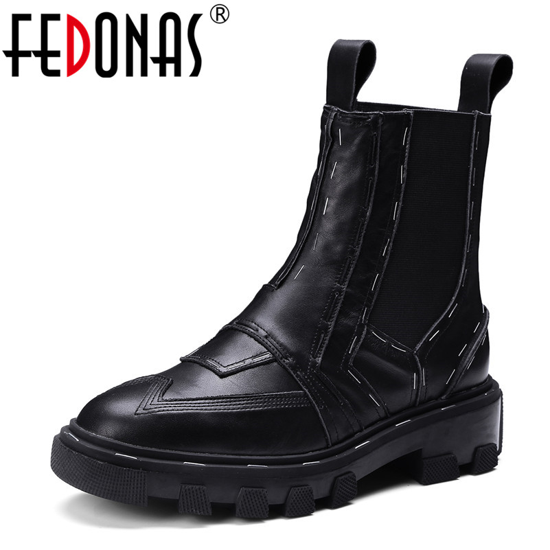FEDONAS Fashion Brand Genuine Leather Ankle Boots Thick Heels Slip on High Quality Shoes Sexy Black White Short Motorycle Boots