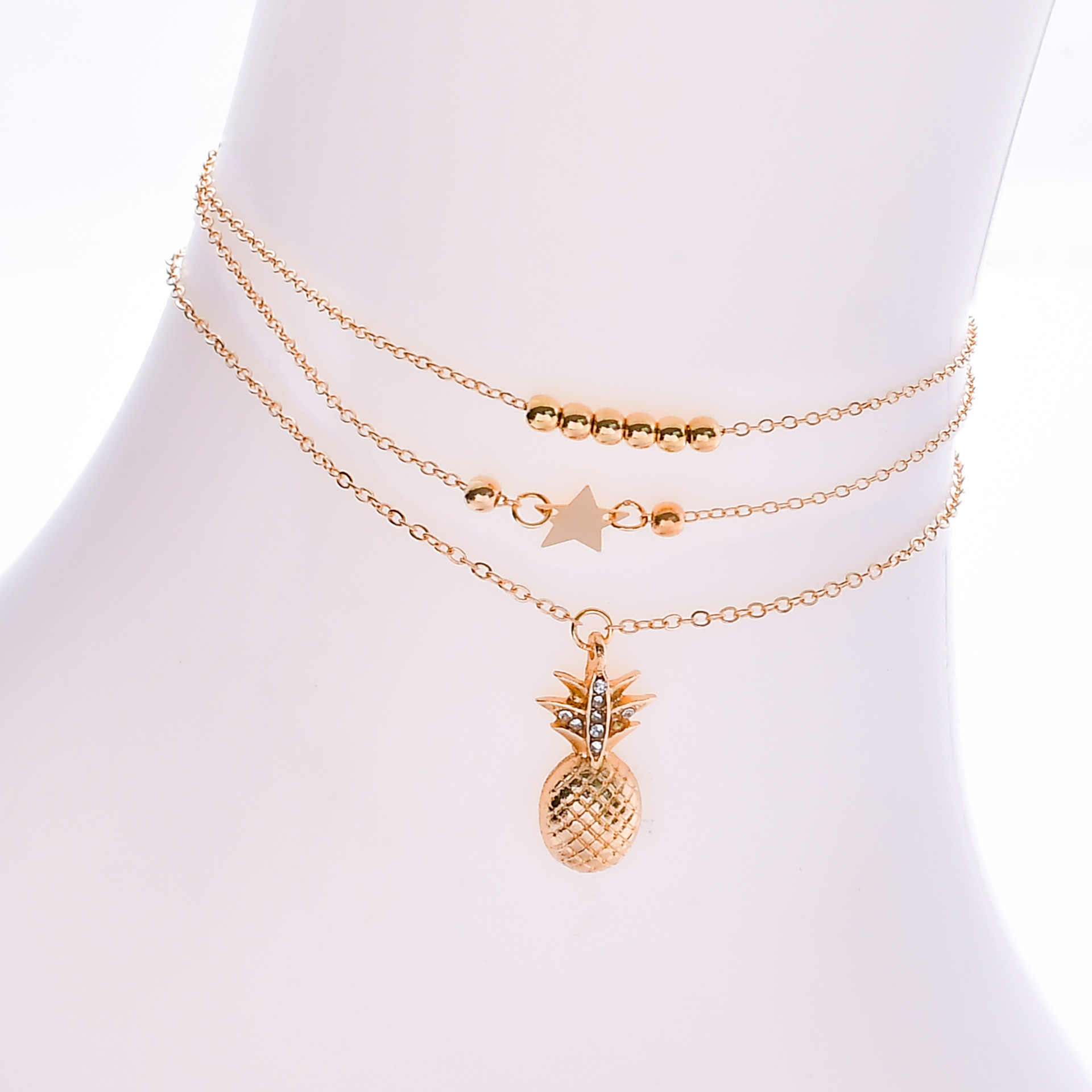 Fashion Summer Beach Multi-layered Five-pointed Star Beaded Pineapple Anklet Charms Leg Bracelets for Women Jewelry Accessories