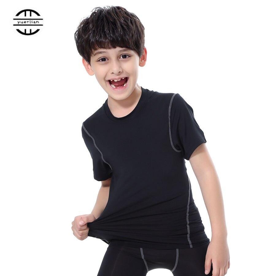 Yuerlian Quick Dry Tights Kids Costume Fitness Sportswear Short Sleeve Children Jersey Running Shirt Gym Boys And Girls T-Shirt
