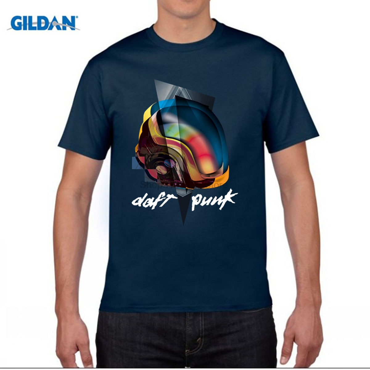 GILDAN funny men t shirt Daft Punk T Shirt Band T-shirt Men Women Clothing Top Plus Size Cotton shirt