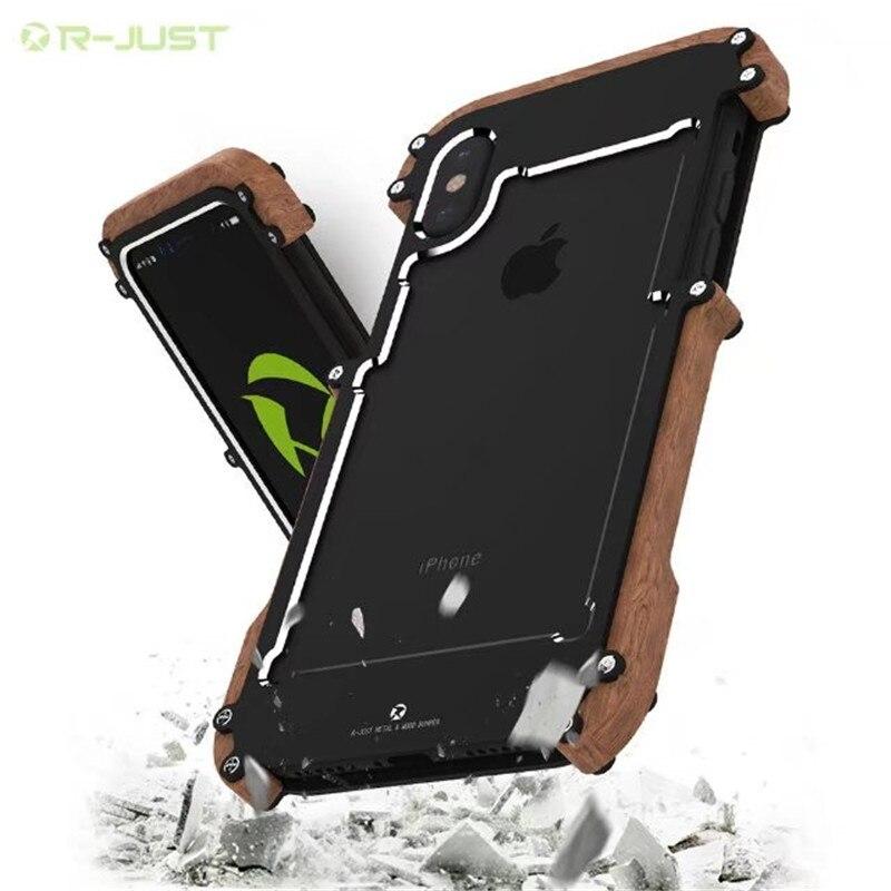 Natural Wood + Metal Case For iPhone X 6 6s 7 8 Plus 5 5s se Aluminum Metal Case Frame Original R-Just Phone Cases Accessories