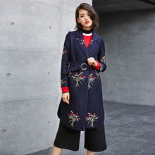 2016 Autumn And Winter New Overcoat Woman Long Fund Woolen Loose overoat D16392