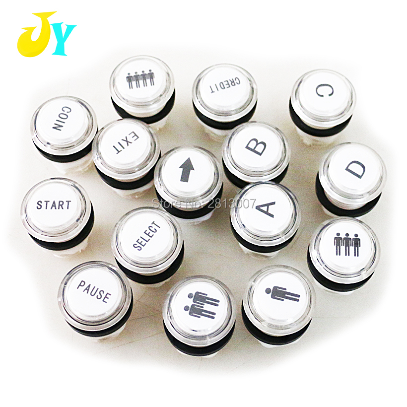 Free shipping / Arcade Button / illuminated arcade start buttons with LED light, holder and microswitch / 5 colors available