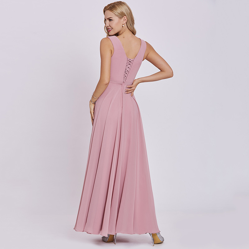 Tanpell appliques prom dresses peach sleeveless floor length a line ...