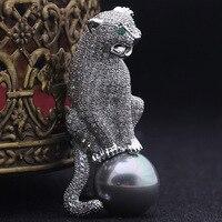Chất Lượng tuyệt vời Men Báo Animal Trâm Cài Bouquet Hoàn Hảo AAA Cubic zircon Copper Chân Khăn Ngọc Trai Tốt Hijab Cưới Phụ Kiện