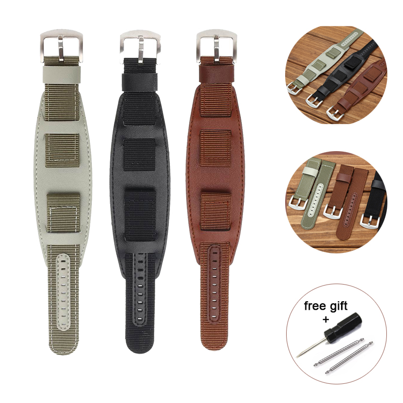 Nylon Watch Band Watchband Leather Strap 18mm 20mm 22mm 24mm Watch Straps Silver Stainless Steel Buckle Pulseira Relogio