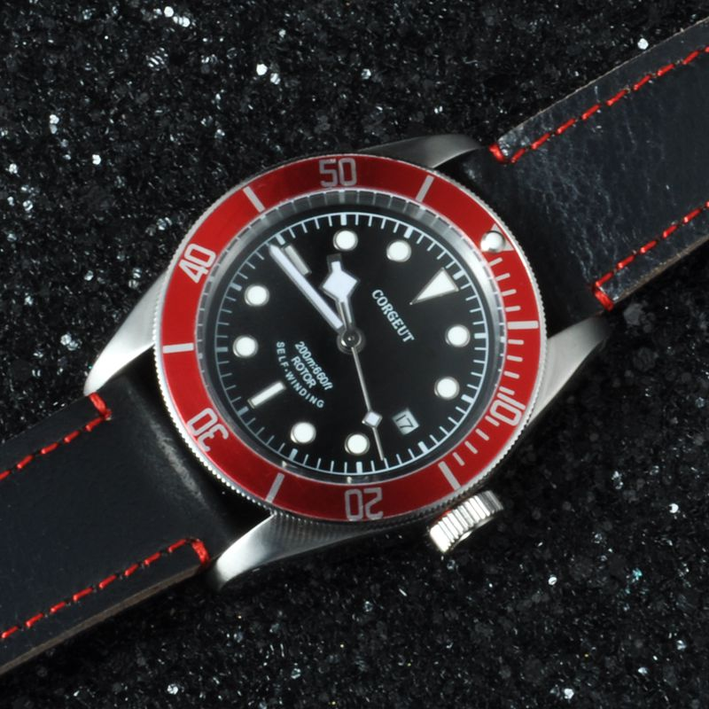 Corgeut 41MM Red Bezel black Dial leather Sapphire Glass Japan Miyota Automatic water resistant and automatic date men Watches  41mm corgeut black dial red bezel 21 jewels miyota automatic diving mens watch