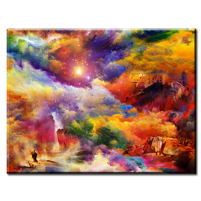 DP ARTISAN house on space art Wall painting print on canvas for home ...