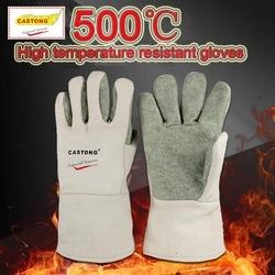 CASTONG 500 gradi Ad Alta temperatura guanti Para-aramide ritardante di Fiamma ad alta temperatura guanti Anti-scottatura guanti di Protezione
