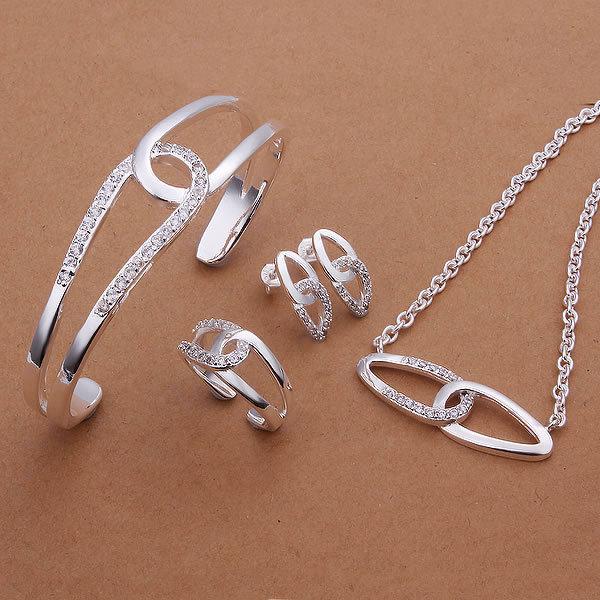 Banhado a Prata Conjunto de Jóias, FashionJewelry, Nickle Livre Antialérgico Set Moda Jóias de Prata KDS394 rzo kgcq