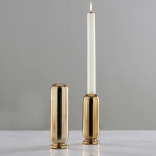 European Golden Candle Holder Ceramic Creative Candlestick Romantic Restaurant Living Room Soft Home Decoration dropship
