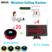 DHL Free Shipping LED Number Paging 4pcs K-4-C Match 20pcs Button Call For Service Customer Waiting System