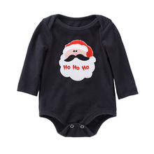 Christmas New Born Clothes Baby Rompers Cartoon Long Sleeve Bebek Tulum Cotton Black Kid Clothing 5 Colors Baby Costume все цены
