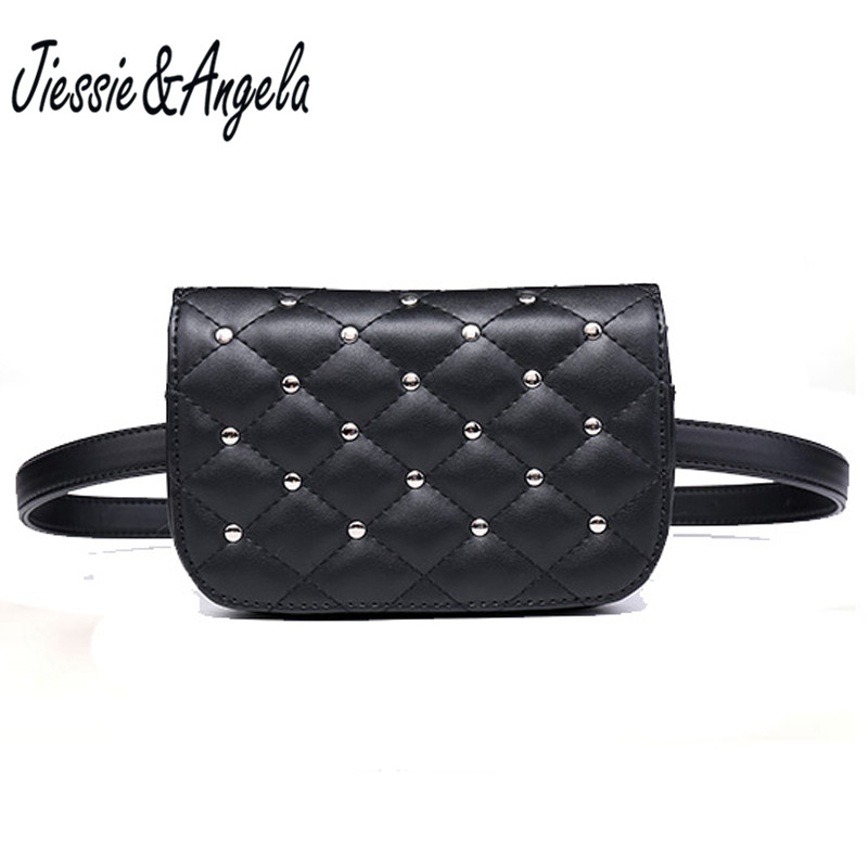 Jiessie & Angela New Fashion Black Solid Leather Waist Pack For Women Fanny Pack Waist Bag Pouch Phone Women Bag Bolosa mihaivina fashion black leather fanny pack women waist pack casual small waist pouch women leather waist bag bolosa